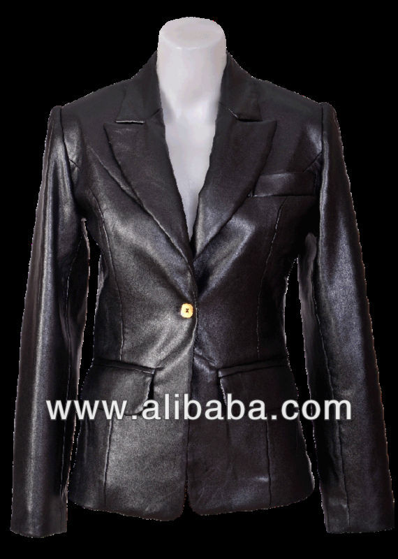 New spring 2014 DECOLLATE high quality Italian design ladies black elastic faux leather one gold button blazer size S M L XL XXL