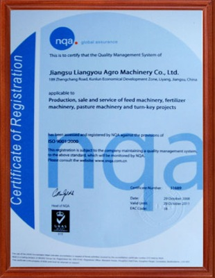 ISO9000:2001 Certificate
