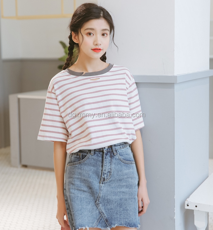 Funny t shirts 2017 ulzzang harajuku Korean style women summer top fashion retro hole striped cute cotton t-shirt women