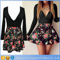 Factory Wholesales 2015 Black Deep V Neck A hem vestidos femininos de festa, flower printed long sleeve new fashion ladies dress