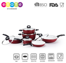 Hot sale 11PCS Red color Press alu cookware set with ceramic coating