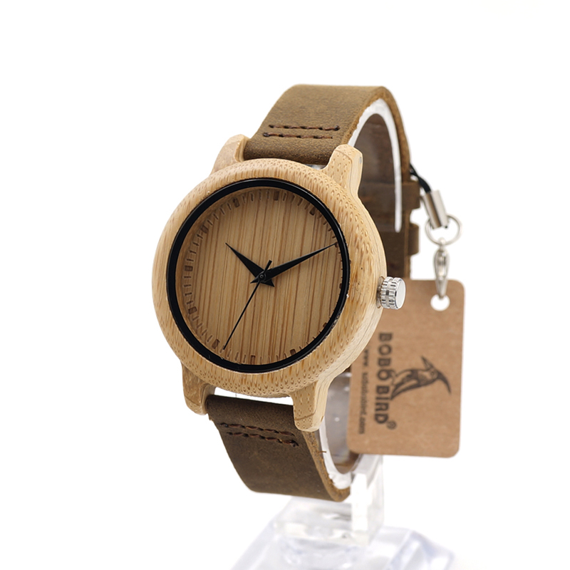 BOBO BIRD Bamboo Quartz Women's Watches With Simple Bamboo Dial Face And Soft Leather Wristwatch Fashion Accessory Dropshipping