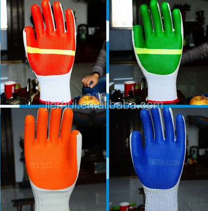 JIE'ERHUI Colorful working protective gloves cotton lined latex gloves