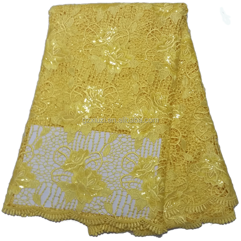 Wholesale soft chemical of yellow lace fabric/voile african lace fabric/trustwin sequins lace