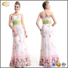 OEM wholesale Women's Pretty Floral Print Empire Line Chiffon long strapless mermaid prom dress pattern