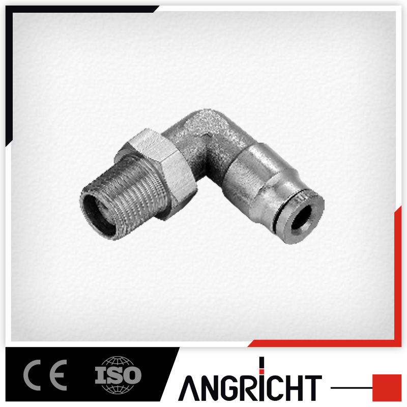 B104-Ningbo Manufacture Brass copper pneumatic elbow male thread air hose push in adaptor fitting