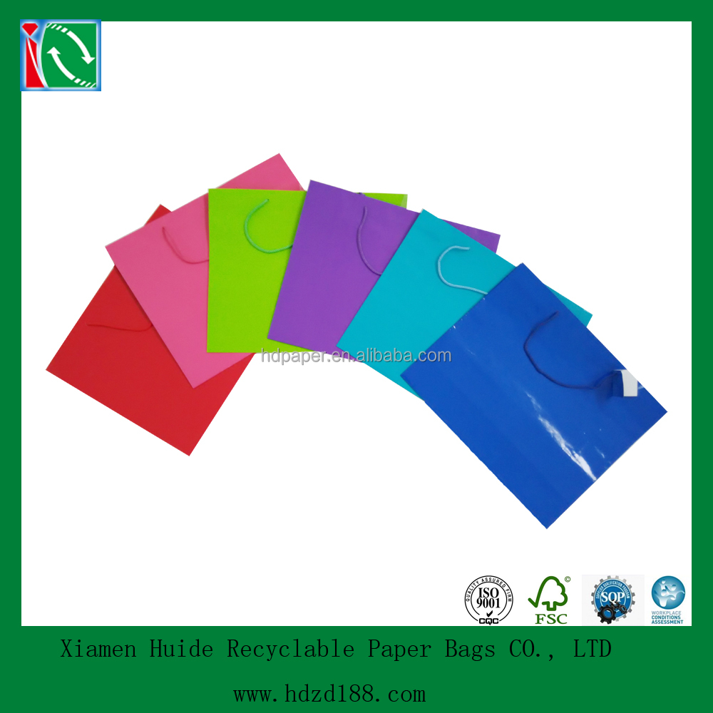 2015 Large Bright Neon Color Paper Gift Party Bags