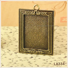 Big Jewelry Finding Vintage Square Cameo Setting Tray Pendant Charms