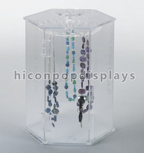 Retail Store Commercial Equipment Portable Table Top Pure Acrylic Hanging Jewelry Display Cases