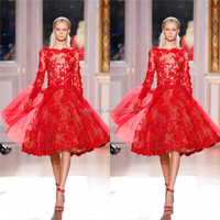2014 Red Sexy A Line Tulle Lace Short Tea Length Cocktail Long Sleeve Dress/Evening Gown/Prom With Bateau Zipper