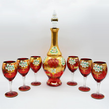 2017 hot selling 7pcs glass drinking water set with gold painting for wedding gift and or home decoration 0157H0944B