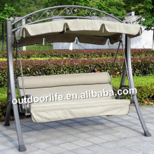 Promotional swing chair outdoor, metal porch swing chair with canopy