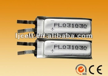 smallest 3.7v Li-polymer rechargeable battery 031030 70mah (size: 3*10*30mm) , 3.7V 301030 70mAh for bluetooth