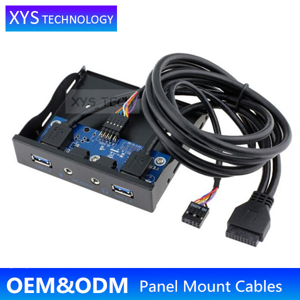 XYS TECH USB3.0 20Pin header to Dual USB3.0+HD Audio Port Desktop Front Panel/