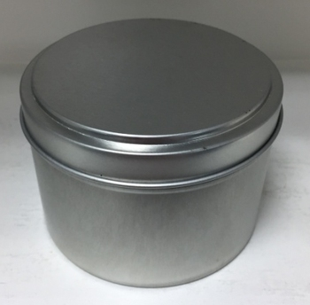 Silver metal container with lid, tin candle jar plain