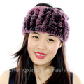 CX-E-37J Women Knitted Real Rex Rabbit Fur Neck Warmer Elastic Headband