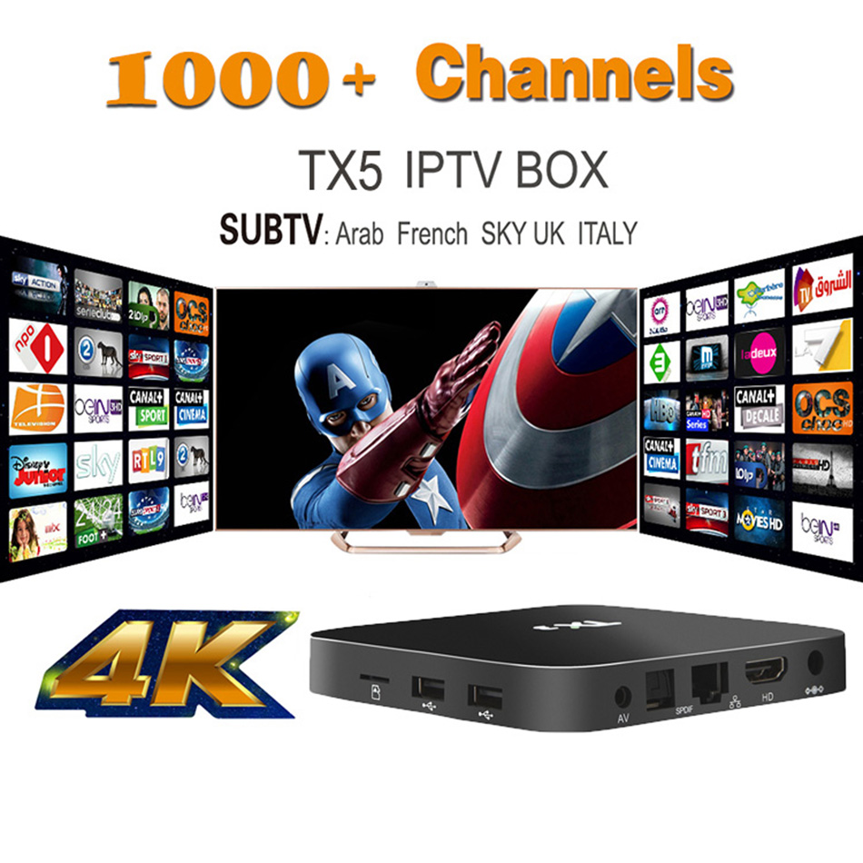 Best Streaming Well IPTV tv box TX5 Android IPTV Box with SUBTV iptv subscription 1 Year Arabic Sports Channels Included