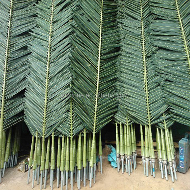 2017 Artificial Coconut Palm Tree Leaves Outdoor Use Plastic Simulation Leaf