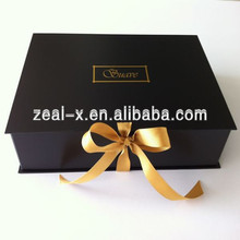 Luxury Golden Logo Cardboard Folding/Folded Boxes,Matte black File Boxes With Golden Ribbon