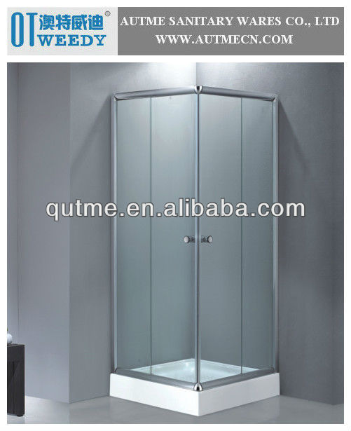 AUTME Push Door Simple Shower Room Chrome Aluminum Alloy Frame