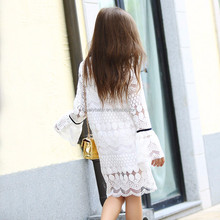 Autumn Fall White Cotto Crochet School Girl Age 56789 10 11 12 13 14T Years Old latest children dress design