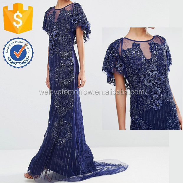 Semi-sheer Woven Fabric Lined Body Round Neckline Maxi Party Dresses Manufacture Wholesale Fashion Women Apparel (TF0212D)