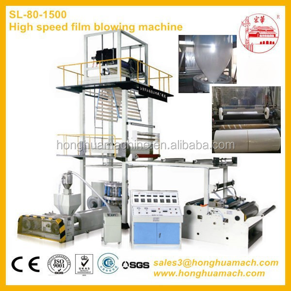 Rotary die head plastic film blowing machine with automatic rewinder