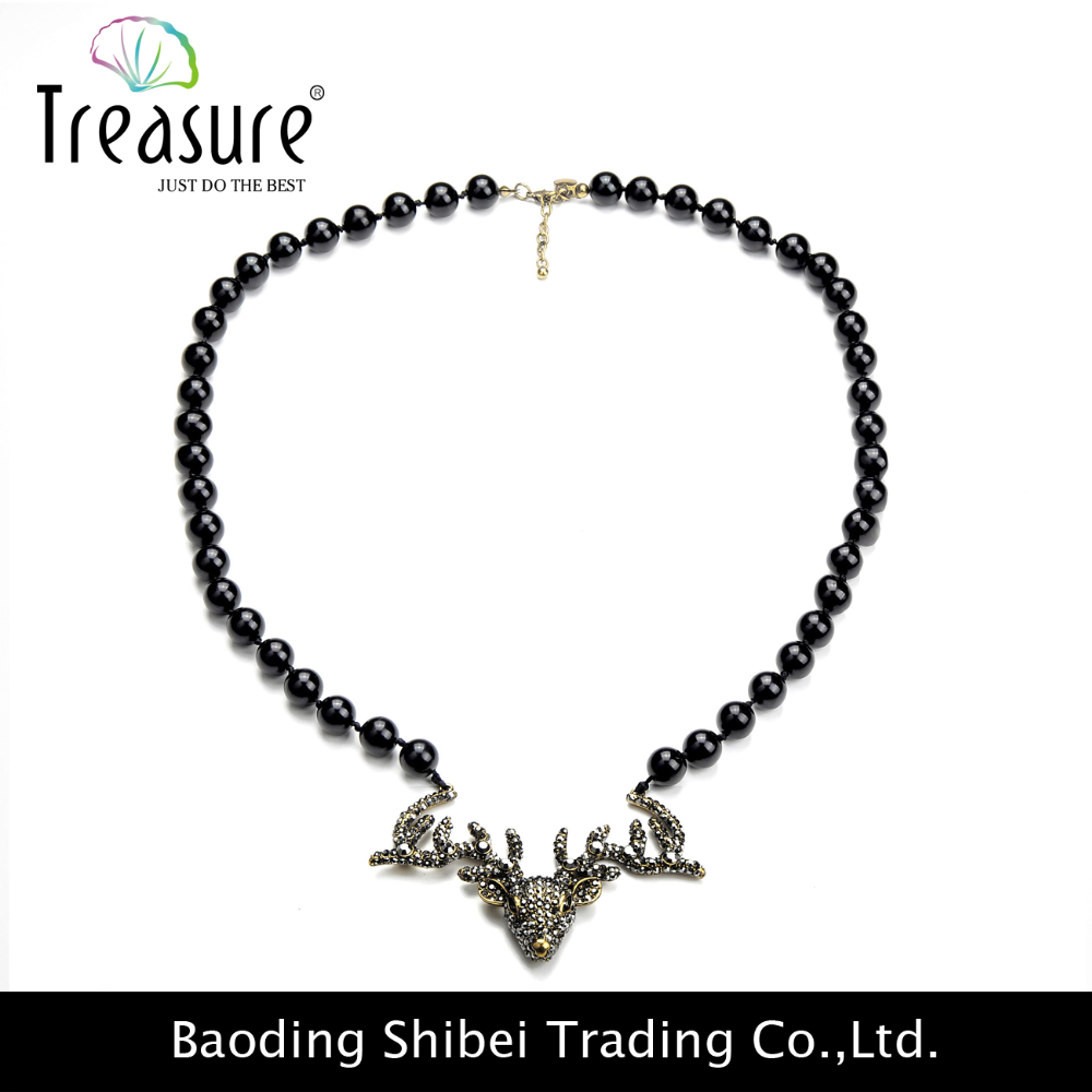New products black beads long chain necklace alloy necklaces with deer head pendant for women