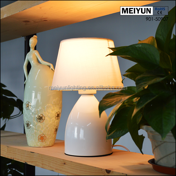hot sale modern bedside fabric and metal touch table lamp