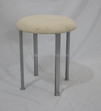 Practical White fabric covered round metal foot stool