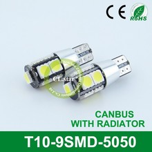 Special price light led car T10-9smd auto radiator 5050 t10 led canbus 12v
