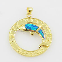 Europe Style Dolphin Shaped 14K Gold Plated Silver Love Pendant,Opal Horn Pendant