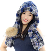 CX-C-242G New Design Earflap Fashion Rex Rabbit Fur Hats and Caps