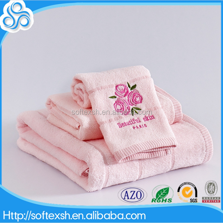 luxury <strong>cotton</strong> 3pcs rose lavender logo plain towel with hand embroidery