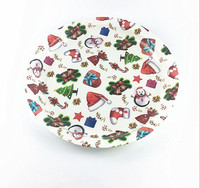wholesales Christmas plastic round food serving tray gold rim charger plate