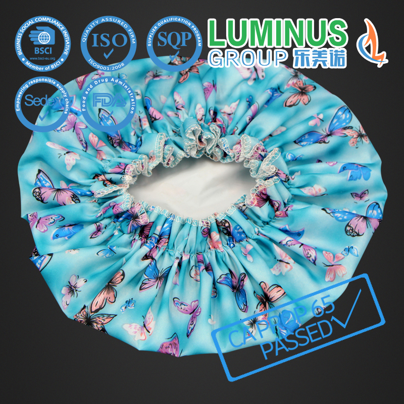 good quality colorful printing waterproof PE shower cap