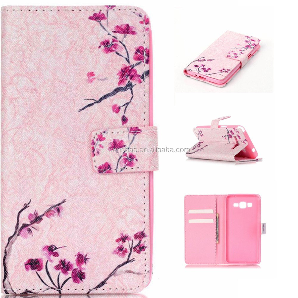 High quality tpu leather phone case for Samsung Galaxy Grand g530 with stand function,car holder IMD craft colorful printed