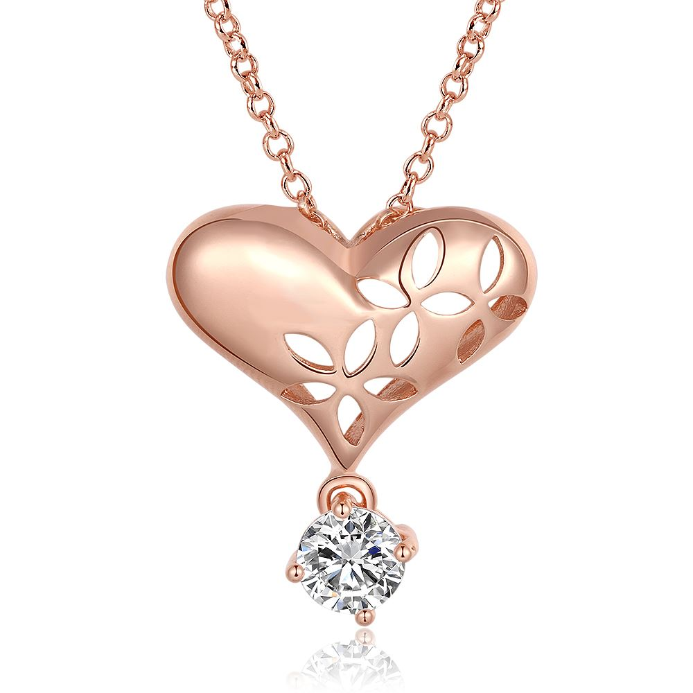 Wholesale Crystal 18K Real Gold/Rose Gold Plated Chain Necklace CZ Austrian Crystal Heart Pendant Necklace Chain Fine Jewellery