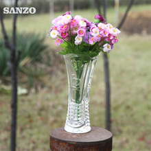 mouth-blown personalized clear thick bottom glass vase