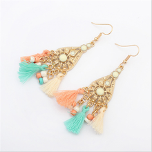 Alibaba USA Hollow Out Alloy Jewelry, Popular Acrylic Fabric Tassel Earrings