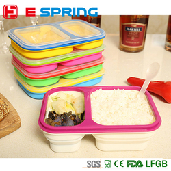 Outdoors portable double lunch box food grade silicone container