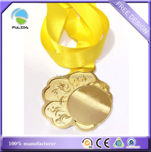 Custom Metal Gold Promotional Sports Playing Move Lines Medal Yellow Ribbon