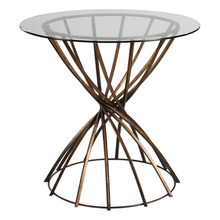 Side Table / Accent Table Classic swirled iron base hand forged and finished in antiqued bronze with a thick clear glass