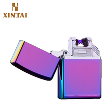 cheap mental cigarette electric lighter usb double arc rechargeable electronic lighter