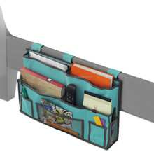 Bedside Caddy Hanging pocket Organizer Storage bag in green/grey