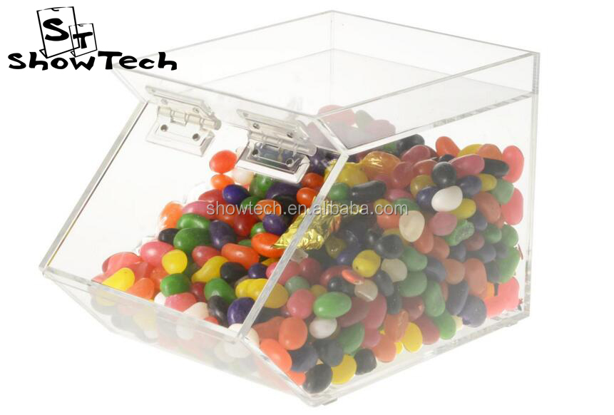 Durable Tablet acrylic candy box display & Acrylic sugar case food dispenser ST-CANBMAG155 E01