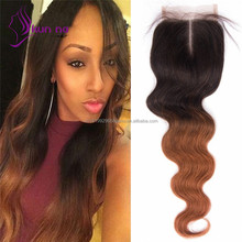 2017 hot hair extension Ombre T1B/30 body wave lace closure Brazilian virgin hair