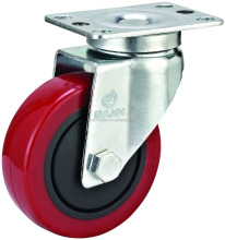 4 inch top plate PU Caster wheel with single ball bearing