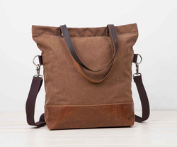 Vintage brown leather canvas tote bag with adjustable straps for wholesale