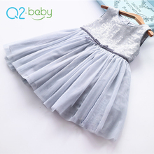 Q2-baby Chinese Trading Company Children Party Paillette Designs Sleeveless Normal Frocks